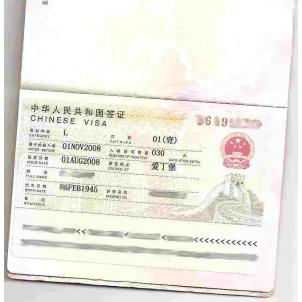 Chinese Tourist or Business Visa - Single Entry - 4 working days processing